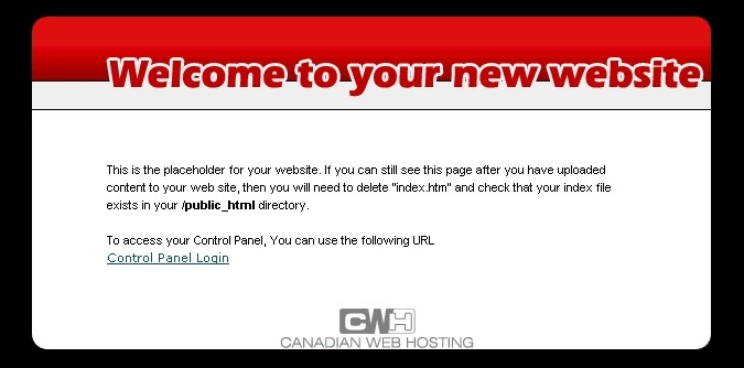Canadia Web Hosting - your space is ready